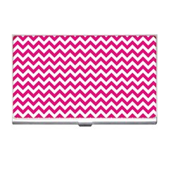 Hot Pink And White Zigzag Business Card Holder