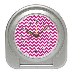 Hot Pink And White Zigzag Desk Alarm Clock
