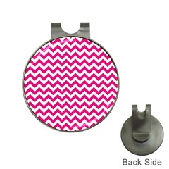 Hot Pink And White Zigzag Hat Clip with Golf Ball Marker