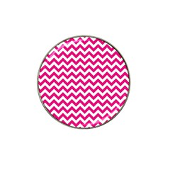 Hot Pink And White Zigzag Golf Ball Marker (for Hat Clip)
