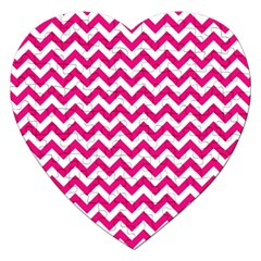 Hot Pink And White Zigzag Jigsaw Puzzle (heart)