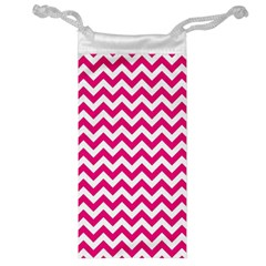 Hot Pink And White Zigzag Jewelry Bag