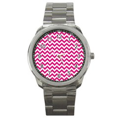 Hot Pink And White Zigzag Sport Metal Watch