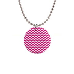 Hot Pink And White Zigzag Button Necklace