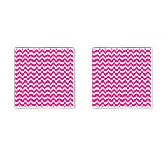 Hot Pink And White Zigzag Cufflinks (Square)