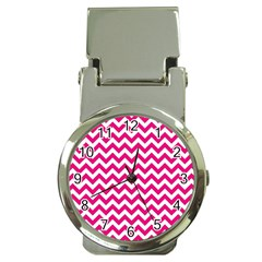Hot Pink And White Zigzag Money Clip With Watch