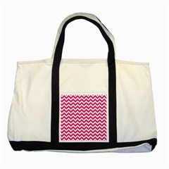 Hot Pink And White Zigzag Two Toned Tote Bag