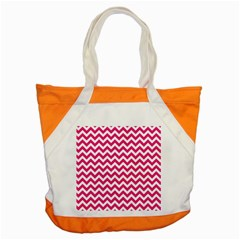 Hot Pink And White Zigzag Accent Tote Bag