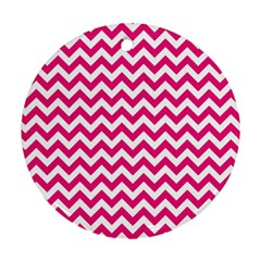 Hot Pink And White Zigzag Round Ornament (Two Sides)