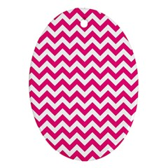 Hot Pink And White Zigzag Oval Ornament (Two Sides)