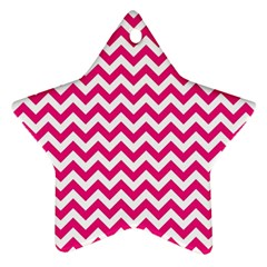 Hot Pink And White Zigzag Star Ornament (Two Sides)