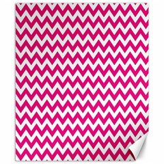 Hot Pink And White Zigzag Canvas 8  x 10  (Unframed)