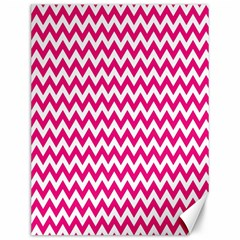 Hot Pink And White Zigzag Canvas 12  x 16  (Unframed)