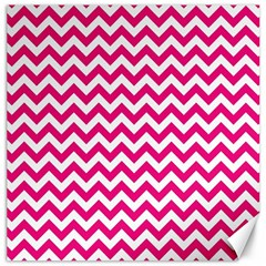 Hot Pink And White Zigzag Canvas 20  x 20  (Unframed)