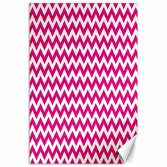 Hot Pink And White Zigzag Canvas 24  x 36  (Unframed)