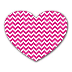 Hot Pink And White Zigzag Mouse Pad (heart)