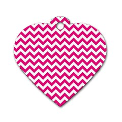 Hot Pink And White Zigzag Dog Tag Heart (Two Sided)