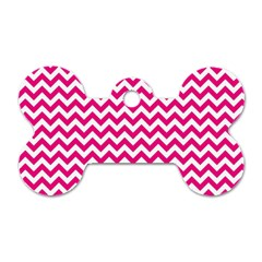 Hot Pink And White Zigzag Dog Tag Bone (one Sided)
