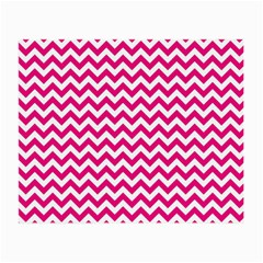 Hot Pink And White Zigzag Glasses Cloth (Small, Two Sided)