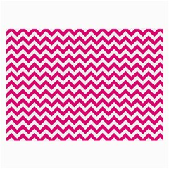Hot Pink And White Zigzag Glasses Cloth (Large, Two Sided)
