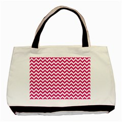 Hot Pink And White Zigzag Twin Sided Black Tote Bag