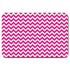 Hot Pink And White Zigzag Large Door Mat