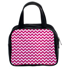 Hot Pink And White Zigzag Classic Handbag (Two Sides)