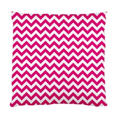 Hot Pink And White Zigzag Cushion Case (two Sided)