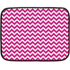 Hot Pink And White Zigzag Mini Fleece Blanket (Two Sided)