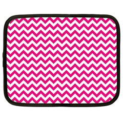 Hot Pink And White Zigzag Netbook Sleeve (xl)