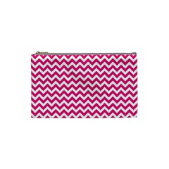 Hot Pink And White Zigzag Cosmetic Bag (Small)