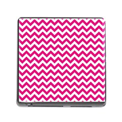 Hot Pink And White Zigzag Memory Card Reader With Storage (square)