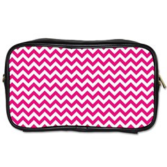 Hot Pink And White Zigzag Travel Toiletry Bag (two Sides)