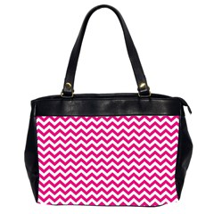 Hot Pink And White Zigzag Oversize Office Handbag (two Sides)