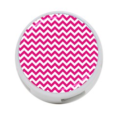 Hot Pink And White Zigzag 4-Port USB Hub (One Side)