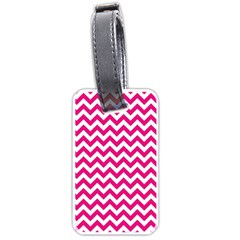 Hot Pink And White Zigzag Luggage Tag (One Side)