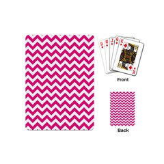 Hot Pink And White Zigzag Playing Cards (Mini)
