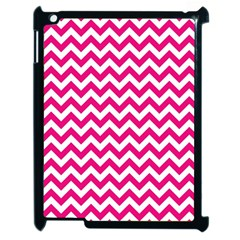 Hot Pink And White Zigzag Apple Ipad 2 Case (black)