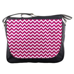 Hot Pink And White Zigzag Messenger Bag