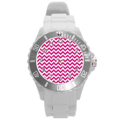 Hot Pink And White Zigzag Plastic Sport Watch (large)