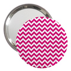 Hot Pink And White Zigzag 3  Handbag Mirror