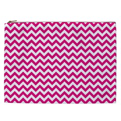 Hot Pink And White Zigzag Cosmetic Bag (XXL)
