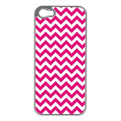 Hot Pink And White Zigzag Apple iPhone 5 Case (Silver)