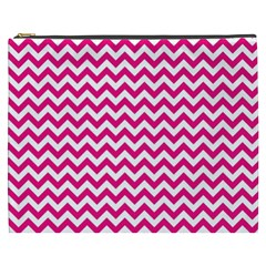 Hot Pink And White Zigzag Cosmetic Bag (XXXL)