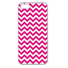 Hot Pink And White Zigzag Apple Seamless Iphone 5 Case (clear)