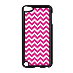 Hot Pink And White Zigzag Apple iPod Touch 5 Case (Black)