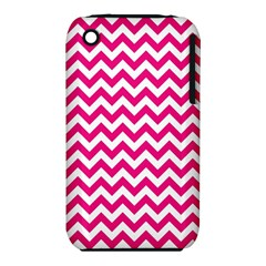 Hot Pink And White Zigzag Apple Iphone 3g/3gs Hardshell Case (pc+silicone)