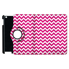 Hot Pink And White Zigzag Apple iPad 2 Flip 360 Case