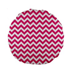 Hot Pink And White Zigzag 15  Premium Round Cushion