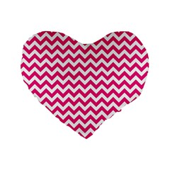 Hot Pink And White Zigzag 16  Premium Heart Shape Cushion